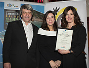 NO FEE PICTURES<br /> 25/1/19 Yvonne Gordan recieving on behalf of Manchan Magan, winner of Best Broadcast, presented by Charlotte Brenner of TUI and Eoghan Corry, editor of Travel Extra pictured at the Travel Extra Travel Journalist of the Year 2018 at the Clayton Hotel, Ballsbridge in Dublin. Picture; Arthur Carron