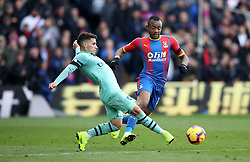 Arsenal's Lucas Torreira (left) and Crystal Palace's Jordan Ayew (right) battle for the ball during the Premier League match at Selhurst Park, London.