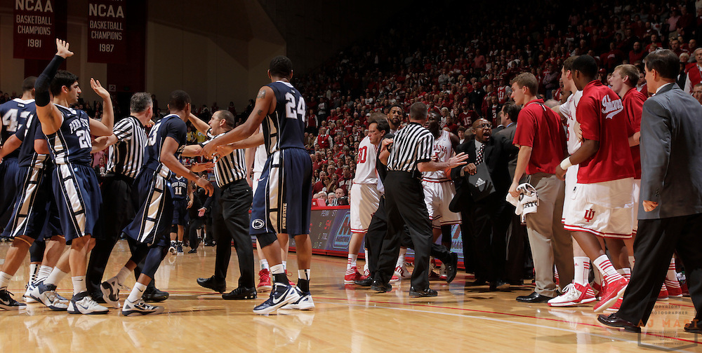 22 January 2012: Penn State and IU teams are restrained as the Indiana Hoosiers played the Penn State Nittnay Lions in a college basketball game in Bloomington, Ind.