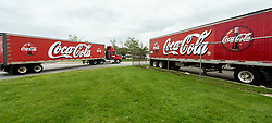 May 30, 2017 - Needham, Massachusetts, U.S. -  After being out to make deliveries, a Coke truck (left) returns to the Coca Cola Bottling Company of New England.(Credit Image: © Brian Cahn via ZUMA Wire)