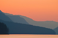 Red sky over shades of grey, Buttle Lake Vancouver Island