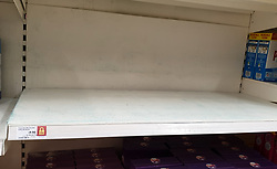 © Licensed to London News Pictures. 20/09/2021. London, UK. An empty shelf of detergent in Sainsbury's in north London as fears of food shortages grow after two of the UK's biggest Carbon Dioxide (CO2) producers halted production last week due to soaring gas prices. Photo credit: Dinendra Haria/LNP