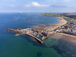 Aerial view from drone of harbour at North Berwick in East Lothian, Scotland, UK
