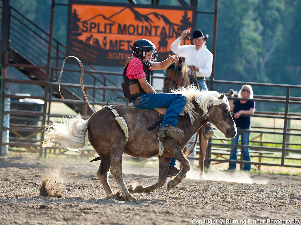 Kids Mini Bareback at the Darby MT Kiddie Rodeo July 7th 2017.  Photo by Josh Homer/Burning Ember Photography.  Photo credit must be given on all uses.