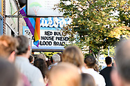 Attendees queue outside at the screening of Blood Road at the Bluebird Theater in Denver, CO, USA on 27 June, 2017.