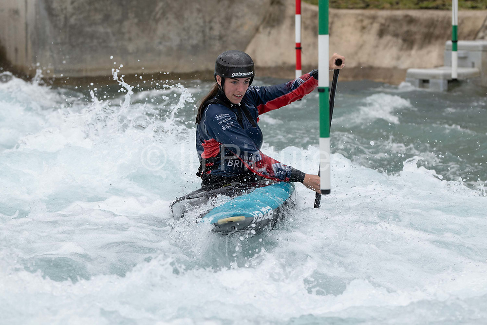 Womans slalom kayaker, Hannah Owen at Lee Valley White Water Centre with Team GBs Canoe Slalom Team on the 7th June 2019 in London in the United Kingdom.