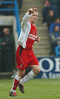 PICTURE HELEN BATT, DIGITALSPORT<br /> NORWAY ONLY<br /> <br /> GILLINGHAM VS COVENTRY<br />  COVENTRY'S GARY MCSHEFFREY CELEBRATES HIS FIRST GOAL ,1ST MAY 2004.