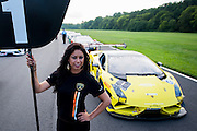 August 22-24, 2014: Virginia International Raceway. Lamborghini grid girl