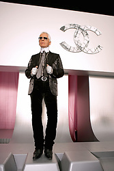 German fashion designer Karl Lagerfeld poses after the presentation of his Spring-Summer 2006 ready-to-wear collection for French fashion house Chanel at the Grand Palais in Paris, France, on October 7, 2005. Photo by Nebinger-Orban-Zabulon/ABACAPRESS.COM