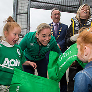 27.07.17.          <br /> Ireland Women's Rugby captain Niamh Briggs was mobbed by young fans in Limerick earlier today (Thursday) as she arrived in the city by boat for the Women's Rugby World Cup trophy tour.<br /> <br /> Niamh Briggs, Ireland Women's Rugby captain was greeted on arrival by Isabel Tierney, 7 daughter of the Senior Ireland Women's Rugby Team coach Tom Tierney, also pictured with holding the trophy was Karen Keehan, Limerick Marine Search and Rescue.<br /> <br /> <br />  The Limerick based garda and Munster fullback was escorted on the River Shannon by Limerick Marine Search and Rescue along with Nevsail kayakers as she made her way to Arthur's Quay jetty to be officially met by Mayor of Limerick, Cllr Stephen Keary. Picture: Alan Place