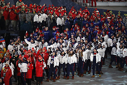 February 25, 2018 - Pyeongchang, KOREA - Athletes from the United States and others during the closing ceremony for the Pyeongchang 2018 Olympic Winter Games at Pyeongchang Olympic Stadium. (Credit Image: © David McIntyre via ZUMA Wire)