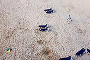 Op zoek naar geld met een metaaldetector aan het einde van de dag op een leeg strand in Scheveningen, Den Haag - Looking for money with a metal detector at the end of the day on an emty beach in Scheveningen, The Hague Beach, Netherlands