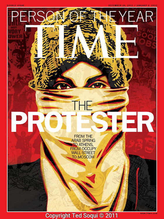 Time Magazine's Person of the Year issue featuring a photo by Ted Soqui made in to art by Shepard Fairey..Occupy LA protest outside of the Bank of America Building in downtown LA.