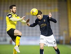 Livingston Liam Buchanan and Falkirk's Luke Leahy. <br /> Half time : Livingston 0 v 1 Falkirk, Scottish Championship game at The Tony Macaroni Arena at 23/1/2016.
