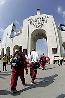 7 October 2006: Football players walk into the peristyle of the stadium two hours before the   NCAA College Football Pac-10 USC Trojans 26-6 win over the Washington Huskies at the LA Coliseum during a sunny saturday game in Los Angeles, CA.<br />