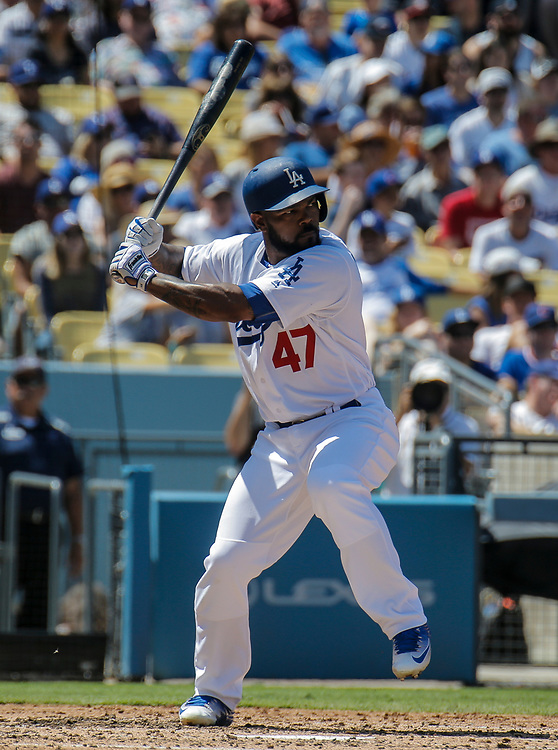 Aug 28 2016 - Los Angeles U.S. CA - LA Dodgers LF # 47 Howie Kendrick up at bat during MLB game between LA Dodgers and the Chicago Cubs 1-0 win at Dodgers Stadium Los Angeles Calif. Thurman James / CSM