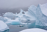 """Massive icebergs are trapped in a shallow """"graveyard"""" at Rode Island in Scoresby Sund, Greenland"""