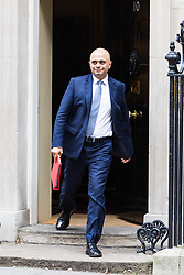 London, October 24 2017. Communities and Local Government Secretary Sajid Javid leaves the UK cabinet meeting at Downing Street. © Paul Davey