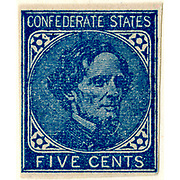 Confederate postage stamp, 5 cent blue, general issue 1862, type 7 Postal service of the Confederate States of America. Richmond, Va. :
