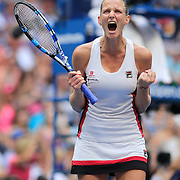 2016 U.S. Open - Day 13  Karolina Pliskova of the Czech Republic celebrates a break against Angelique Kerber of Germany in the Women's Singles Final on Arthur Ashe Stadium on day thirteen of the 2016 US Open Tennis Tournament at the USTA Billie Jean King National Tennis Center on September 10, 2016 in Flushing, Queens, New York City.  (Photo by Tim Clayton/Corbis via Getty Images)