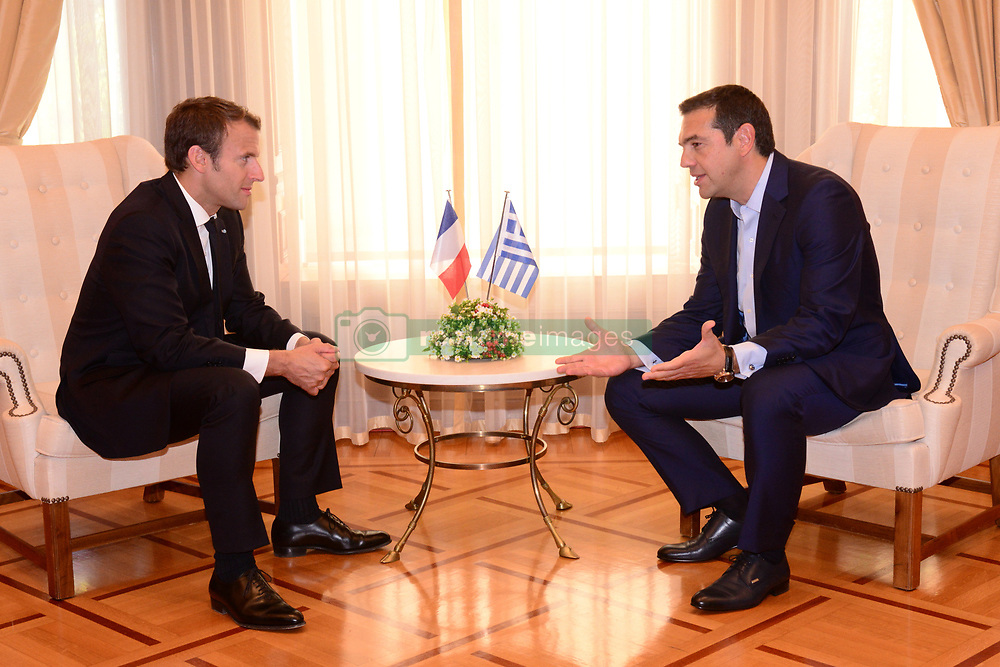 September 7, 2017 - Athens, Attiki, Greece - During the official meeting of Greek Prime Minister Alexis Tsipras (right) with the President of French Republic Emmanuel Macron  (Credit Image: © Dimitrios Karvountzis/Pacific Press via ZUMA Wire)