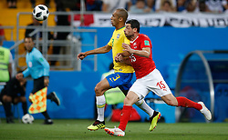 June 17, 2018 - Rostov Do Don, Rússia - ROSTOV DO DON, RO - 17.06.2018: BRAZIL VS SWITZERLAND - Miranda do Brasil dispute with Switzerland's BleDze Dzemaili during a match between Brazil and Switzerland valid the first round of group E of the 2018 WorlWorld Cup held at the Rostov Arena in Rostov on Don, Russia. (Credit Image: © Marcelo Machado De Melo/Fotoarena via ZUMA Press)