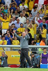 O técnico Luis Felipe Scolari comemora gol na partida entre Brasil e Espanha, válida pela final da Confederações 2013, no estádio Maracanã, no Rio de Janeiro. FOTO: Jefferson Bernardes/Preview.com