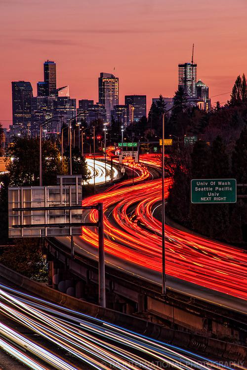 Interstate 5 & Seattle Skyline, Autumn Sunset