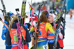 March 16, 2019 - –Stersund, Sweden - 190316 Hanna Öberg of Sweden and Marte Olsbu Røiseland of Norway celebrates after the Women's 4x6 km Relay during the IBU World Championships Biathlon on March 16, 2019 in Östersund..Photo: Petter Arvidson / BILDBYRÃ…N / kod PA / 92268 (Credit Image: © Petter Arvidson/Bildbyran via ZUMA Press)