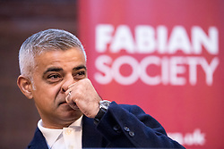 "© Licensed to London News Pictures. 13/01/2018. London, UK. Mayor of London Sadiq Khan speaks at a keynote speech at the Fabian Society 2018 Conference. The conference is titled 'Policy Priorities for the Left'. Following US President Donald Trump's decision to cancel his upcoming trip to the UK, Khan said the President had ""finally got the message"" he was not welcome in London. Foreign Secretary Boris Johnson and Downing Street have since said the comments could jeopardise transatlantic relationships. Photo credit : Tom Nicholson/LNP"