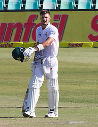 Durban. 040318. Aiden Markram of the Proteas celebrates his 100 runs during day 4 of the 1st Sunfoil Test match between South Africa and Australia at Sahara Stadium Kingsmead on March 04, 2018 in Durban, South Africa
