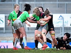 Rachel Johnson of Exeter Chiefs attempts a tackle on Bethan Dainton of Harlequins - Mandatory by-line: Andy Watts/JMP - 06/02/2021 - Sandy Park - Exeter, England - Exeter Chiefs Women v Harlequins Women - Allianz Premier 15s