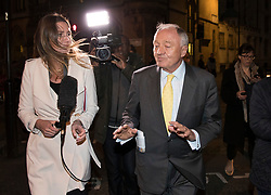 © Licensed to London News Pictures. 04/04/2017. London, UK. Former Mayor of London Ken Livingstone leaves Church House after being suspended from the Labour Party  for a further year after a disciplinary hearing. Mr Livingstone has been accused of anti-Semitism after comments he made in April 2016 claiming that Hitler supported Zionism in the 1930's. Photo credit: Peter Macdiarmid/LNP