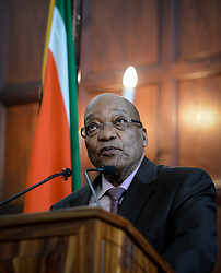 August 8, 2017: FILE: South Africa's parliament debates over a no-confidence motion on President JACOB ZUMA, debate is also over the future of the ruling African National Congress. The former liberation movement has led South Africa since the first all-race elections in 1994, but some parliament members warn that the ANC will lose support if Zuma is allowed to stay in office. If the no-confidence motion succeeds, Zuma will have to resign immediately. He has survived such votes in the past, but this is the first to use a secret ballot. The ANC had its worst showing last year in municipal elections as Zuma faced allegations of corruption. Pictured: PRETORIA, April 22, 2015  South Africa's President Jacob Zuma addresses a media briefing after meeting with stakeholders in Pretoria, South Africa, on April 22, 2015. South African President Jacob Zuma on Wednesday met with stakeholders in Pretoria to discuss the country's migration policy following xenophobia attacks in parts of the country. (Xinhua/Zhai Jianlan) (Credit Image: © Xinhua via ZUMA Wire)