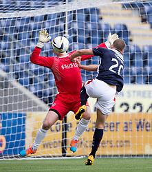 Falkirk's Alex Cooper in on Cowdenbeath's keeper Robbie Thomson.<br /> Falkirk 6 v 0 Cowdenbeath, Scottish Championship game played at The Falkirk Stadium, 25/10/2014.