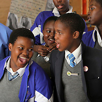 High school students in the drama club sing a rousing rendition of a traditional South African song at Fezeka High School in Cape Town.<br /> Photo by Shmuel Thaler <br /> shmuel_thaler@yahoo.com www.shmuelthaler.com