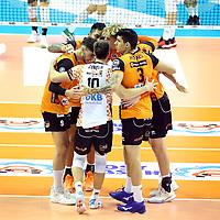 17.10.2020, Max Schmeling Halle, Berlin, GER, 1.VBL, BR VOLLEYS VS. SWD powervolleys Dueren, <br /> im Bild <br /> BRV-Spielerkreis, Davy Moraes (BR Volleys #3), Julian Zenger (BR Volleys #10), Timothee Carle (BR Volleys #9), Samuel Tuia (BR Volleys #12), Anton Brehme (BR Volleys #8)<br />    <br /> Foto © nordphoto /  Engler