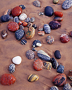 Colorful wave-washed Lake Superior stones on beach at Crisp Point, Upper Peninsula of Michigan