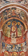 Pictures & images of the Byzantine apse fresco of Theotokos, depicting the Virgin Mary, the  Mother of God, and child,  in the Gelati Georgian Orthodox Church St George, 13th century, depicting scenes from the Passion of Christ.  The medieval Gelati monastic complex near Kutaisi in the Imereti region of western Georgia (country). A UNESCO World Heritage Site. .<br /> <br /> Visit our MEDIEVAL PHOTO COLLECTIONS for more   photos  to download or buy as prints https://funkystock.photoshelter.com/gallery-collection/Medieval-Middle-Ages-Historic-Places-Arcaeological-Sites-Pictures-Images-of/C0000B5ZA54_WD0s<br /> <br /> Visit our REPUBLIC of GEORGIA HISTORIC PLACES PHOTO COLLECTIONS for more photos to browse, download or buy as wall art prints https://funkystock.photoshelter.com/gallery-collection/Pictures-Images-of-Georgia-Country-Historic-Landmark-Places-Museum-Antiquities/C0000c1oD9eVkh9c
