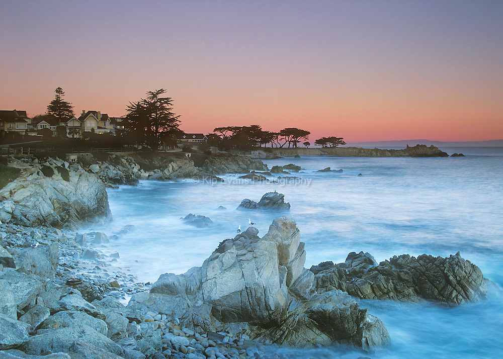 Dusk at Lover's Point along the coast of Pacific Grove, California.