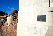 Hoover Dam plaque and the Visitor Center, Hoover Dam National Historic Landmark, Nevada