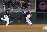 Brian Dozier #2 of the Minnesota Twins fields a ground ball during a game against the Boston Red Sox on May 17, 2013 at Target Field in Minneapolis, Minnesota.  The Red Sox defeated the Twins 3 to 2.  Photo: Ben Krause