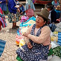 Americas, South America, Peru, Pisac. Quechua woman at Pisac Market.