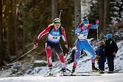 Lisa Theresa Hauser (AUT) and Uliana Kaisheva (RUS) in action during the Women 7,5km Sprint at day 7 of IBU Biathlon World Cup 2018/19 Pokljuka, on December 8, 2018 in Rudno polje, Pokljuka, Pokljuka, Slovenia. Photo by Urban Urbanc / Sportida