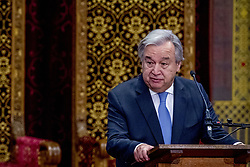 """United Nations Secretary-General Antonio Guterres delivers his speech at the International Criminal Tribunal for the Former Yugoslavia (ICTY) closing ceremony after 24 years in the """"Ridderzaal"""", or Hall of Knights, in The Hague, Netherlands on Thursday December 21, 2017. Photo by Robin Utrecht/ABACAPRESS.COM"""