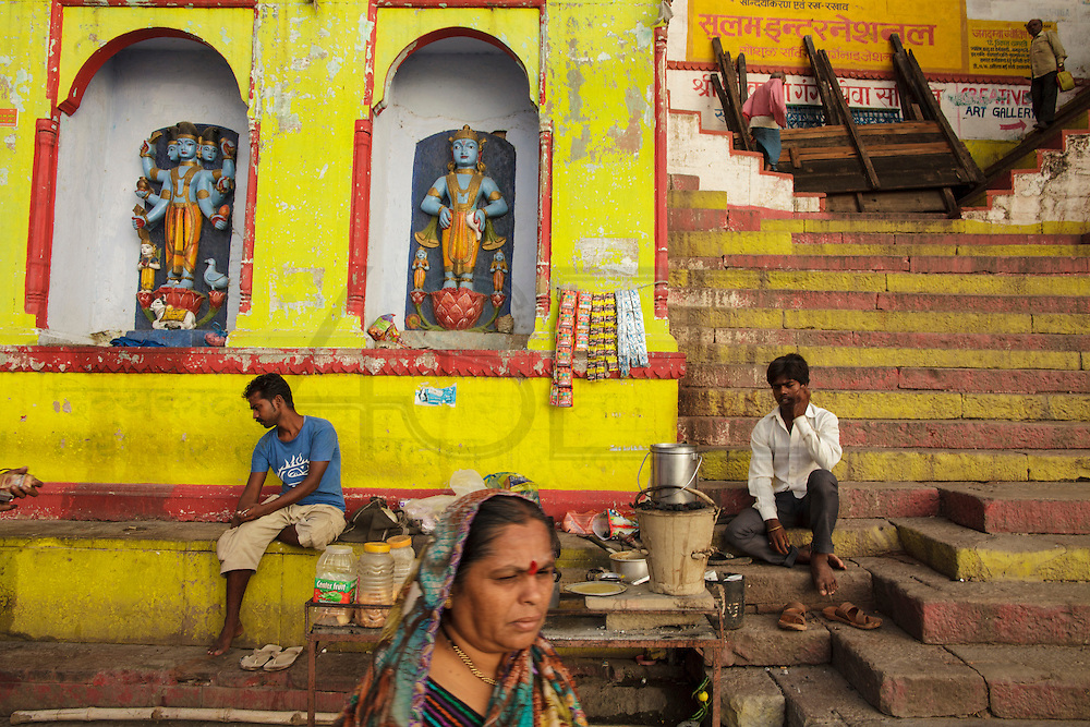 Early morning at Rana Ghat  by the Ganges river in Varanasi, India.