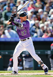 April 8, 2018 - Denver, CO, U.S. - DENVER, CO - APRIL 08: Colorado Rockies infielder Trevor Story (27) bats during a regular season MLB game between the Colorado Rockies and the visiting Atlanta Braves on April 8, 2018 at Coors Field in Denver, CO. (Photo by Russell Lansford/Icon Sportswire) (Credit Image: © Russell Lansford/Icon SMI via ZUMA Press)