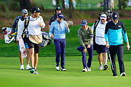 Justin Thomas (USA), Rickie Fowler (USA) and Jordan Spieth (USA) during Round 1 of the Players Championship, TPC Sawgrass, Ponte Vedra Beach, Florida, USA. 12/03/2020<br /> Picture: Golffile | Fran Caffrey<br /> <br /> <br /> All photo usage must carry mandatory copyright credit (© Golffile | Fran Caffrey)