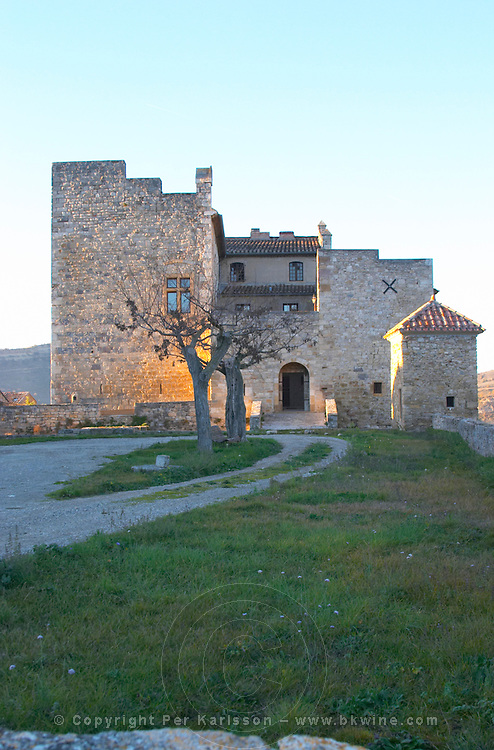 Roquetaillade hilltop village. With medieval chateau. Limoux. Languedoc. Evening sunshine. France. Europe.