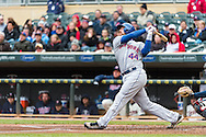 John Buck #44 of the New York Mets bats during a game against the Minnesota Twins on April 13, 2013 at Target Field in Minneapolis, Minnesota.  The Mets defeated the Twins 4 to 2.  Photo: Ben Krause
